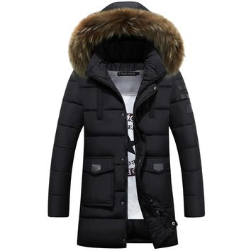 Men Cotton Padded Long Thick Warm Casual Winter Jacket Men With Fur Collar