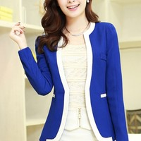All-Matching Contrast-Panel Blazer - OASAP.com