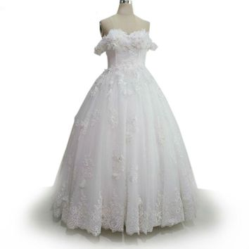 Off Shoulder Tulle Ball Gown Wedding Dress Arrival Lace Appliques Sweetheart Wedding Dress