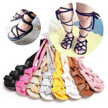 Girls PU Leather Gladiator Lace Tie Sandals
