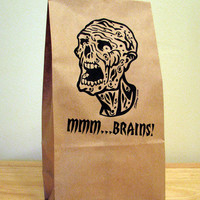 5 - Zombie MMMM-BRAINS Lunch Bags (paper bags,party supplies,food storage,lunch container,kitchen storage,party bags,gag gift)