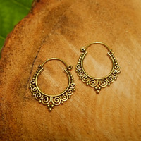Brass tribal earrings, indian ornate hoop earrings, spiral hippie gypsy festival burning man gold, pair 18g 1mm