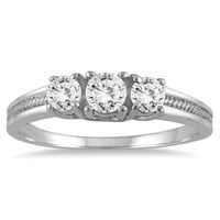 1/2 Carat Diamond Three Stone Ring in 10K White Gold