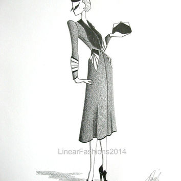 Fashion illustration / 1940s coat / original pencil drawing / film noir art / gift