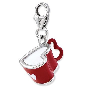 925 Sterling Silver 3D Red Enameled Heart Shaped Coffee Mug Charm