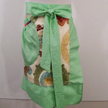 Women's Half Towel Apron, Circle Floral with Green, #179
