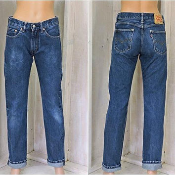 Vintage Levis 505 jeans / 29 X 34 size 5 / 86 / high waisted / straight leg / dark wash faded