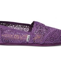 TOMS Purple Crochet Women's Classics Loafer Flats Casual Shoes 001096B13PURPL (US 8.5)
