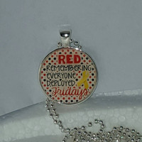 "Red Remembering Everyone Deployed Fridays 1"" Pendant Necklace free shipping"