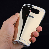 For Samsung Galaxy S6 Edge Case Soft TPU Mirror Back Cover For Galaxy S6 Edge G9250 Fashion Bling Phone Shell
