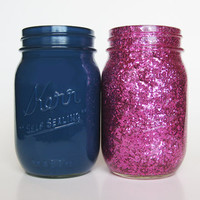 Navy Blue and Pink Glitter Mason Jar Set