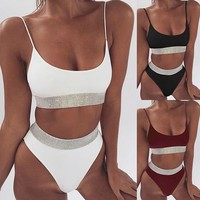 Sexy Sequin Bikini Women High Waist Swimsuit Solid Swimwear Push Up Bathing Suits Beach Wear Swimming Suit