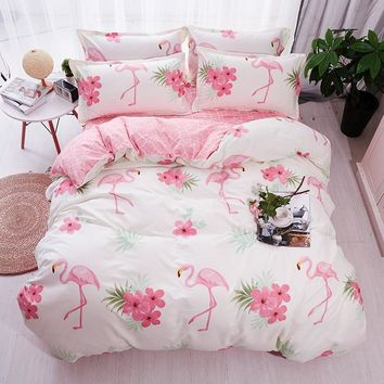 Cool HOT Sale Fashion Luxury pink flamingos Cartoon Printing Double king queen Pattern Bedding sets Duvet cover Flat sheet 25AT_93_12