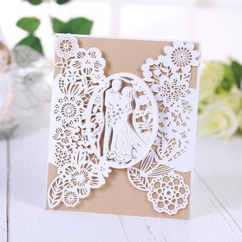 Wedding party cards&invitations Bride and groom pattern wedding cards laser cut paper cards announcement postcards wedding