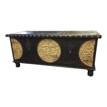 Vintage Dark Brown Trunk Coffee Table
