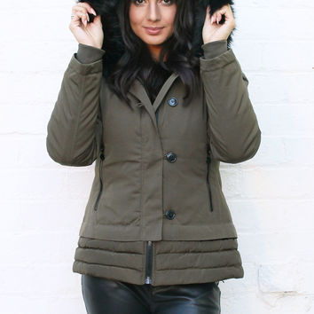 Premium Padded Short Hooded Parka with Faux Fur Trim in Khaki with Black