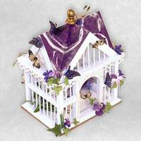 Bird House with Butterflies - Purple Swirl and Spring Flowers