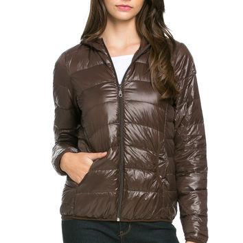 Lightweight Puffer Down Hooded Jacket Brown