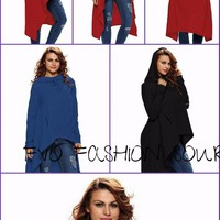Asymmetrical Hooded Long Sweatshirt (7 )Colors  Cozy Pullover
