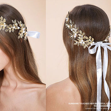 Handwire Wedding Headband,Golden Olive branch Freshwater Pearl Rhinestone Wreath Leaves headpiece, Boho head pieces , Floral Tiara NL003
