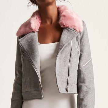 Wool-Blend Contrast Faux Fur Jacket