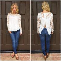 Ivory Lace Slit Back Top