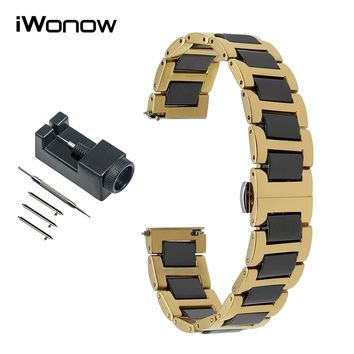 20mm 22mm Ceramic & Stainless Steel Watch Band for Diesel Men Women Quick Release Strap Wrist Bracelet + Link Remover Black Gold