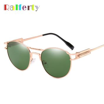 Ralferty Vintage Steampunk Sunglasses Women Men Retro Punk Sun Glasses UV400 Metal Green Shades 2018 Eyewear Accessories R66208