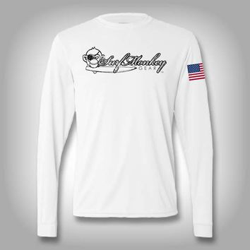 Surfmonkey Pro Performance Distressed Logo Long Sleeve