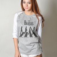The Beatles Abbey Road 3/4 Baseball Raglan Sleeves Shirts for Women
