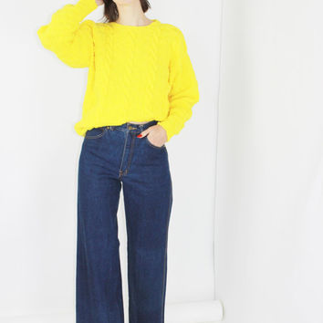 chunky knit sweater yellow pullover minimalist jumper basic sweater bright yellow cozy sweater SMALL SM S medium large