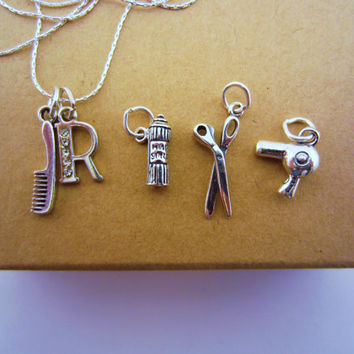 Sterling hairdresser necklace. Custom rhinestone initial charm. Scissors, blow dryer, hair spray or comb charms.  Beautician gift.