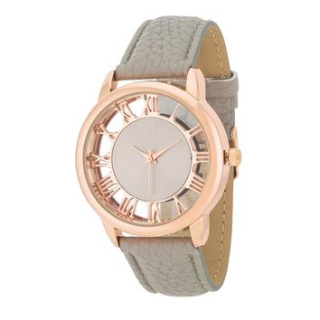 Rose Gold & Grey Roman Numeral Watch