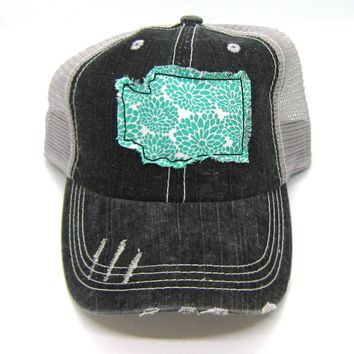 Black and Gray Distressed Trucker Hat - Aqua Floral Applique - Washington - All United States Available