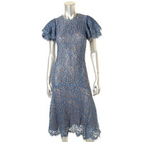 Michael Kors Womens Lace Mid-Calf Cocktail Dress