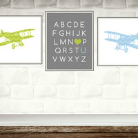 Nursery Wall Art Prints / blue and green chevron airplanes / set of 3 / kids art / baby boy room decor / planes / transportation theme