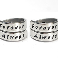 Forever Always Ring Set, Rings For Sisters And Best Friends, Love And Friendship Ring, BFF Gift