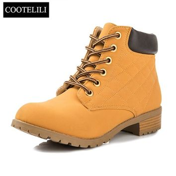 COOTELILI Women Ankle Boots Heels Lace up Casual Shoes Woman Oxfords Black Yellow Tooling Boots Leather Plus Size 40 41 42