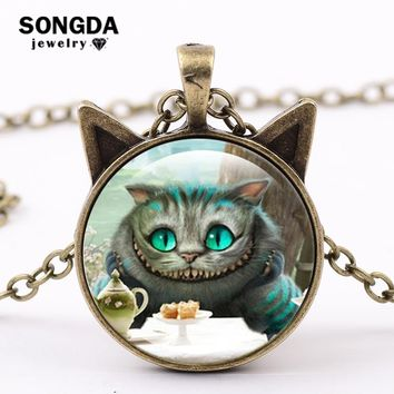 SONGDA Alice In Wonderland Necklace Jewelry We're All Mad Here Cheshire Cat Glass Dome Gem Cute Ears Pendant Necklace for Women