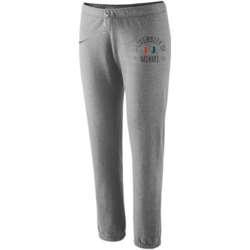 Nike Miami Hurricanes Womens Rally Fleece Pants - Ash