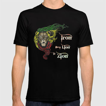 Reggae, Rasta, Rastafari Lion, Iron, like a Lion in Zion. Jamaican music, well known song quote T-shirt by Casemiro Arts - Peter Reiss