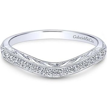 "Gabriel ""Abel"" Vintage Style Curved Engraved Diamond Wedding Band"