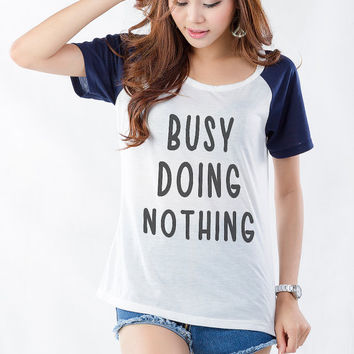 White short sleeve Busy Doing Nothing Print Graphic T-Shirt