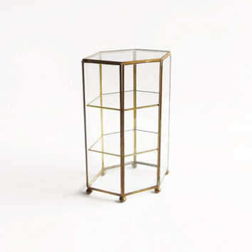 Glass and brass display cabinet