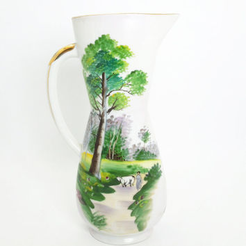 Hand-painted Ucagco porcelain pitcher with country landscape scenery - Made in Japan - Japanese decor - Japanese porcelain china