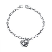 Platinum Plated 925 Sterling Silver Milk Bottle Baby Children Anklet / Bracelet, Baby Shower Jewelry Gift