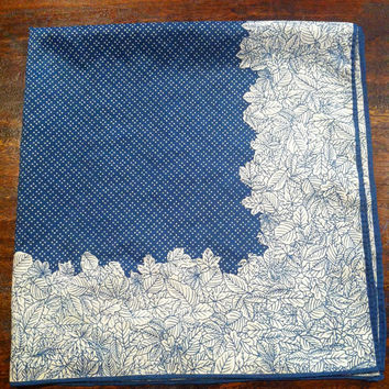 Vintage Sally Gee Square Scarf // Blue and by HawkShopVintage