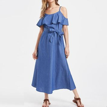 2017 Women Summer Ruffles Short Sleeve Off Shoulder Spaghetti Straps Denim Blue Slim Casual Party Dress Long Vestido Sundress