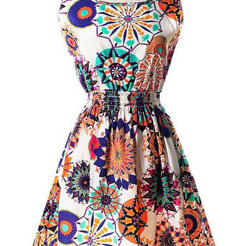 Floral Print Elastic Waist Sleeveless Mini Dress