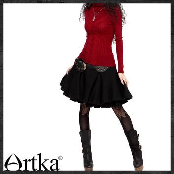 Artka Pleated Woolen Mini Skirt